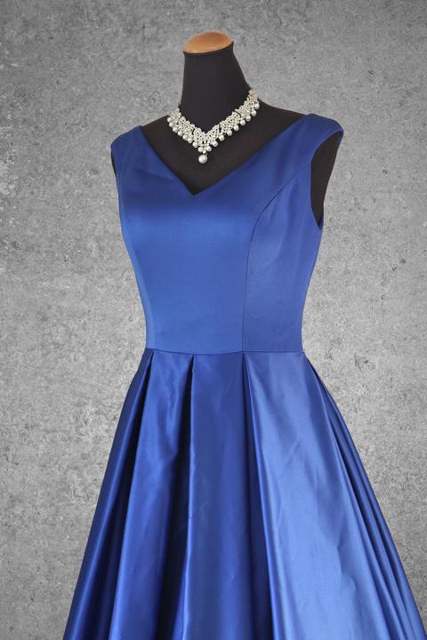 No.15591 ロイヤルブルー肩ありサテンゴージャスドレス
